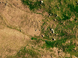 Hispaniola - Satellite image depicting the border between Haiti (left) and the Dominican Republic (right)