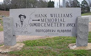 Hank Williams - Entrance marker of the Oakwood Annex Cemetery in Montgomery, Alabama