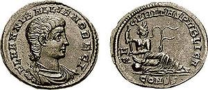 """Hannibalianus - Follis of """"King"""" Hannibalianus."""