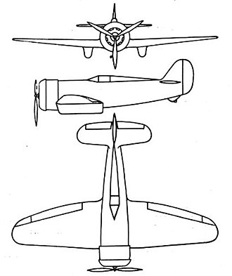 Lorraine Hanriot LH.130 - Lorraine Hanriot LH.131 3-view drawing from L'Aerophile April 1934