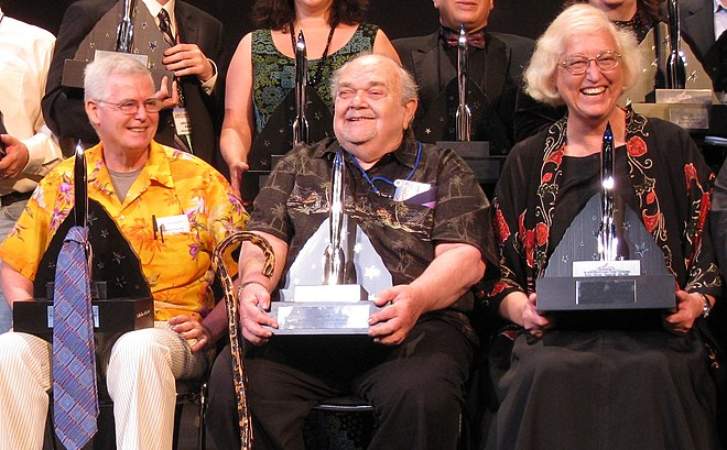 David Hartwell, Charles N. Brown, and Connie Willis pose with the 2008 Hugo Awards Hartwell, Brown, Willis 2008 Hugo Awards.jpg