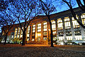 Harvard Law School Library in Langdell Hall at night.jpg