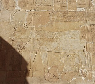 Hathor - Hathor as a cow suckling Hatshepsut, a female pharaoh, at Hatshepsut's temple at Deir el-Bahari, 15th century BC