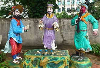 Oath of the Peach Garden - Statues of (from left) Zhang Fei, Liu Bei and Guan Yu at Haw Par Villa, Singapore.