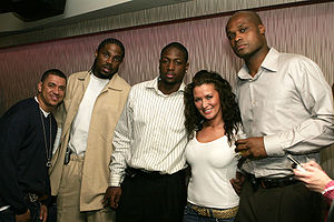 Udonis Haslem (second from left), Dwyane Wade ...