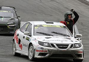 2014 World RX of Norway - Henning Solberg celebrates having advanced through to the final