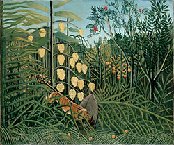 Henri Rousseau: In a Tropical Forest. Struggle between Tiger and Bull