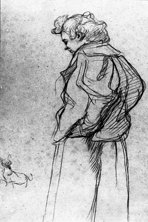 Drawing - Madame Palmyre with Her Dog, 1897. Henri de Toulouse-Lautrec