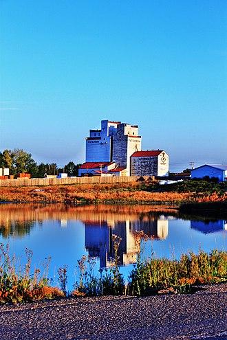 Herbert, Saskatchewan - Early morning light on the grain elevators in Herbert.