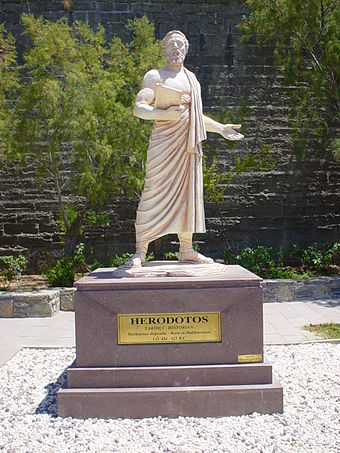 The statue of Herodotus in his hometown of Halicarnassus, modern Bodrum, Turkey Herodotusstatue.JPG