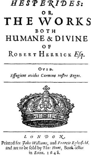 Hesperides (poetry collection) - Title page of Robert Herrick's Hesperides, 1648