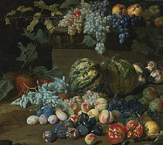 Hieronymus Galle - Pumpkins, grapes, peaches, plums, pomegranates, pears, figs, apples and turnips by a plinth