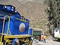 Hiram Bingham train by Perurail to Machu Picchu and Sacred Valley Peru - Ollantaytambo train station (4875570687).jpg