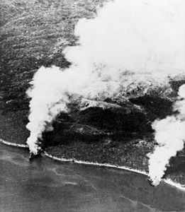 Hirokawa Maru and Kinugawa Maru burning Guadalcanal 15 Nov 1942.jpg
