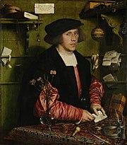 Georg Giese, 34 Jahre, Kaufmann aus Danzig im Londoner Stalhof an seinem Arbeitsplatz (1532)