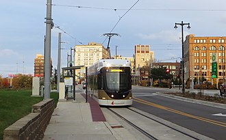 The Hop (streetcar) - A Hop streetcar on St. Paul Avenue at Plankinton Ave.