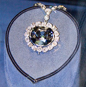 Diamond (gemstone) - The Hope Diamond. Its deep blue coloration is caused by trace amounts of boron in the diamond.