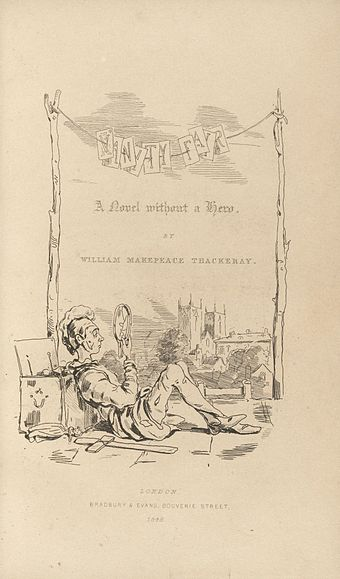 Title-page to Vanity Fair, drawn by Thackeray, who furnished the illustrations for many of his own books Houghton EC85 T3255 848vb - Vanity Fair, title.jpg