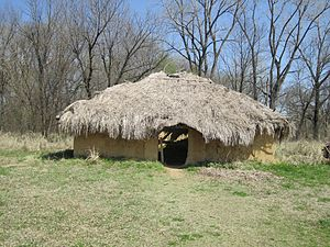 Spiro Mounds - A reconstructed house. Grass-thatched roofs were typical of the later, historic Wichita and Caddo, but their houses were round with high-pitched roofs.