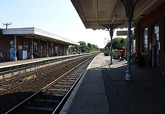 Hoveton & Wroxham railway station - Both platforms, showing the station buildings