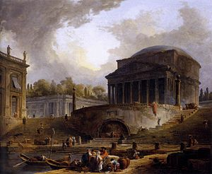 Hubert Robert - View of the Port of Rippeta in Rome, c. 1766, showing the Ancient Roman Pantheon next to an imaginary port