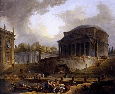 View of the Port of Rippeta in Rome, c. 1766, showing the Ancient Roman Pantheon next to an imaginary port Hubert Robert - View of Ripetta - WGA19603.jpg