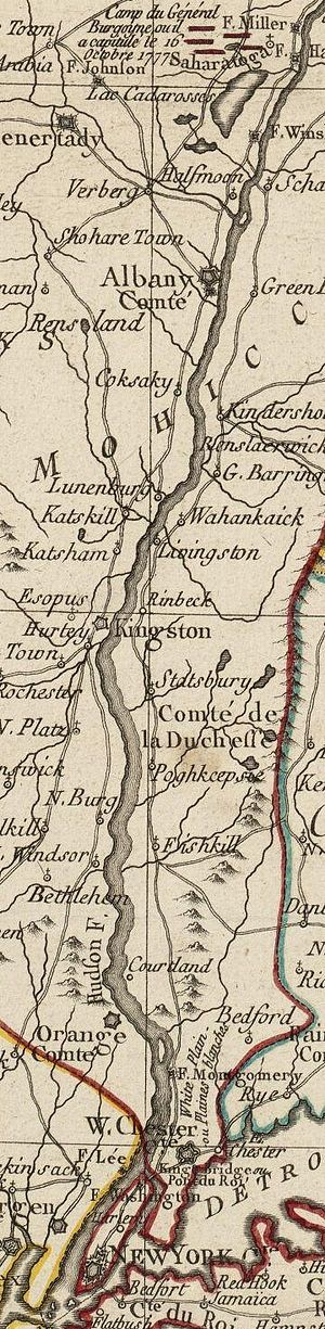 Battle of Forts Clinton and Montgomery - Detail of a 1777 French map showing the Hudson River Valley. Fort Montgomery is incorrectly depicted on the east side of the river.