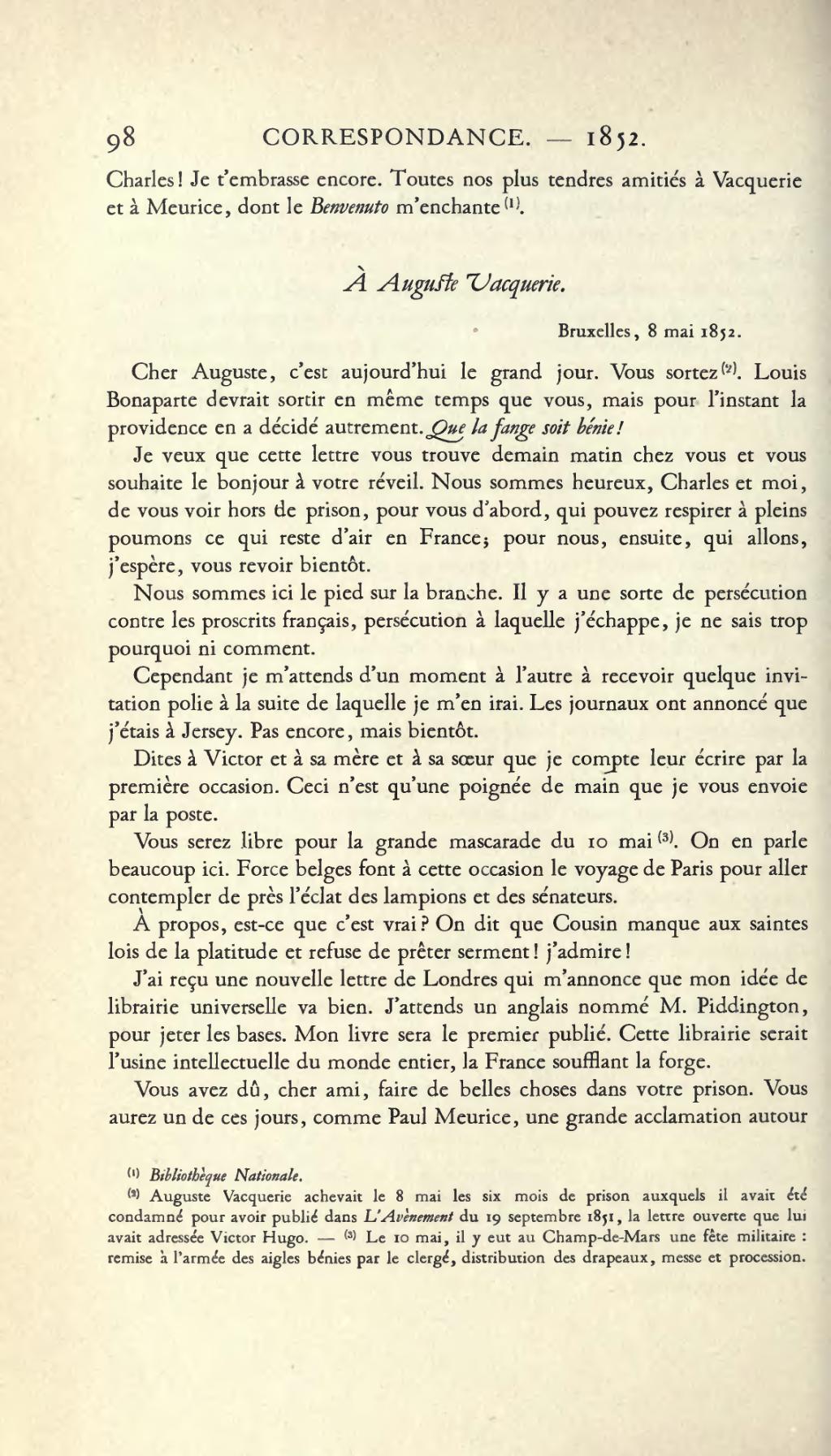 Page Hugo œuvres Completes Impr Nat Correspondance Tome Ii