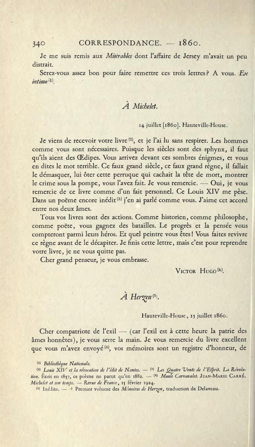 Pagehugo œuvres Complètes Impr Nat Correspondance