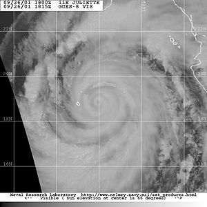 Eyewall replacement cycle - Hurricane Juliette, a rare case of triple eyewalls.