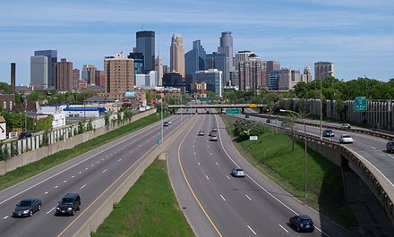 I-35W approaching downtown Minneapolis from the south I-35W and Minneapolis skyline 5.jpg