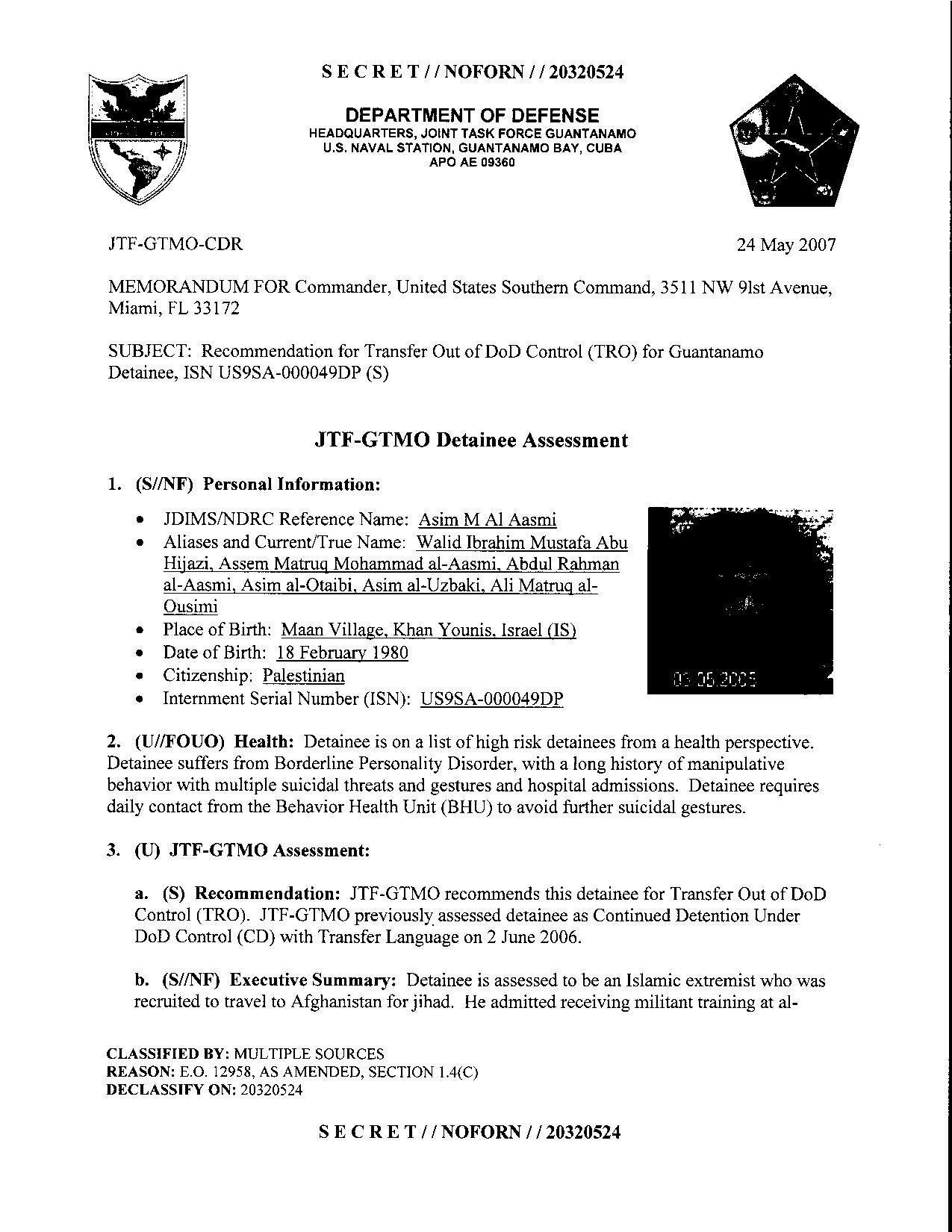 ISN 00049, Asim M Al Aasmi's Guantanamo detainee assessment.pdf