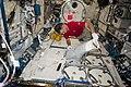 ISS-52 Paolo Nespoli checks out a science freezer inside the Kibo lab.jpg