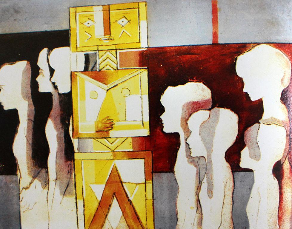 file ibrahim kodra seeking new idols 1968 oil on canvas. Black Bedroom Furniture Sets. Home Design Ideas