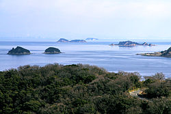View of the smaller Ieshima Islands