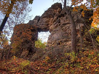 Frontenac State Park - In-Yan-Teopa, a natural limestone arch atop the bluff in Frontenac State Park