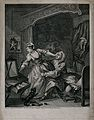 In a lady's bedchamber a young woman struggles as a man pull Wellcome V0049187.jpg