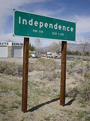 Independence town sign