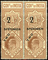 India 1904 specimen surcharged telegraph stamp.jpg