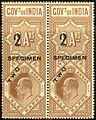 India 1904 specimen surcharged telegraph stamp.jpg