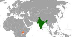 Map indicating locations of India and Uganda