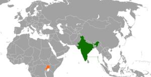 India–Uganda relations - Image: India Uganda Locator