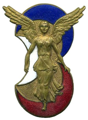 3rd Algerian Infantry Division - The insignia of the 3e DIA represents the winged statuette of the Victory of Cirta  Victoire de Cirta with three crescents