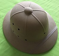 d28b1d2cd2ca1 International Hat Company pressed fiber sun helmet with ventilation holes   based on the 1940 design specifications.