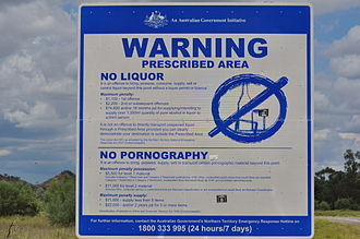 Northern Territory National Emergency Response - Alcohol and Pornography Ban Warning sign at an Aboriginal community near Alice Springs, Northern Territory