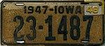 Iowa 1948 license plate - Number 23-1487.jpg