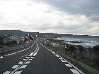 Japan National Route 9 - Route 9 on the Sea of Japan shore in Tottori