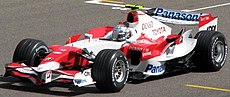 Jarno Trulli driving the Toyota TF107 at the 2007 Bahrain Grand Prix. He finished the race in 7th place after qualifying 9th.