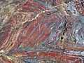 Jaspilite banded iron formation (Soudan Iron-Formation, Neoarchean, ~2.69 Ga; Stuntz Bay Road outcrop, Soudan Underground State Park, Soudan, Minnesota, USA) 15 (19224941385).jpg