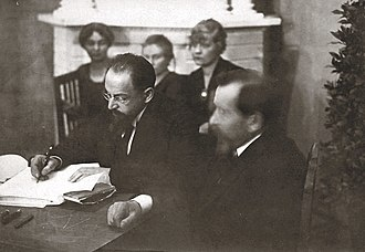 Treaty of Tartu (Russian–Estonian) - Signing the Treaty of Tartu. Adolf Joffe (Soviet Russia, left).